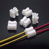 快速接线端子2位LED灯具电线连接器ch-2对接头按压式端子接线柱 50个装