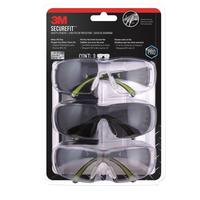3M SF400-W-3PK-PS Secure-Fit 400 防雾护目眼镜 3件装