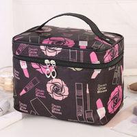网红化妆包大号大容量防水手提洗漱包可爱收纳化妆品旅行包包便携 大号黑大玫瑰花