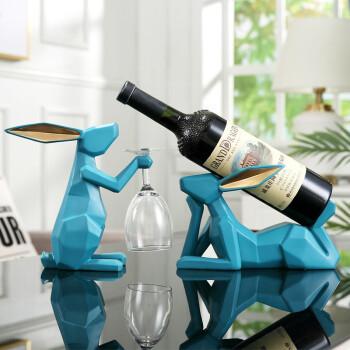 Hoatai Ceramic 华达泰 现代简约兔子红酒架套装(湖蓝色)