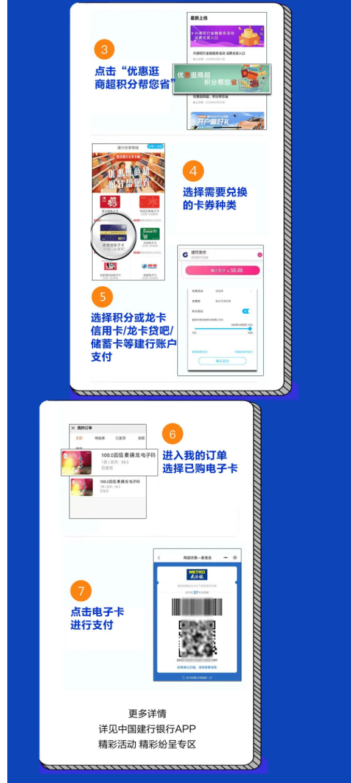 建设银行 X 物美/华润万家/麦德龙/永辉 积分兑换电子卡