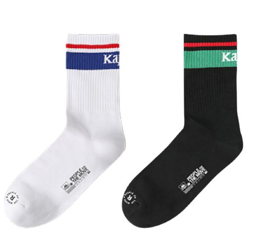 Kappa 卡帕 中性撞色运动长筒袜2双装KP0W09 黑/白 均码