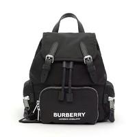 黑卡会员:BURBERRY 博柏利 女士ECONYL® logo印花抽绳双肩包 小号