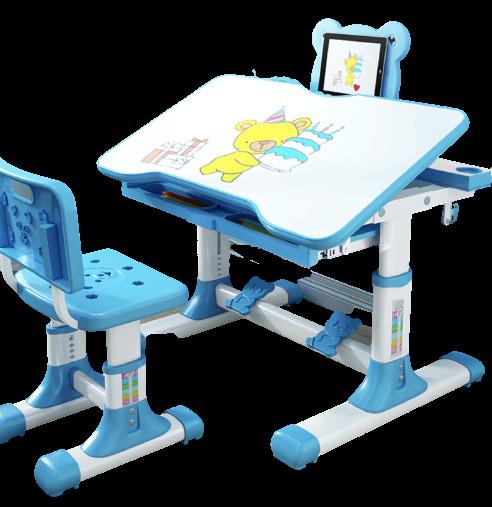 佳佰 儿童学习桌椅套装 简约家用写字桌小学生升降书桌蓝色(送LED灯+矫正器)