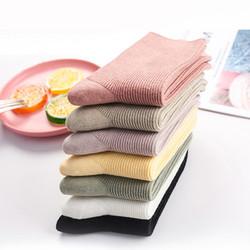兰婉朵  L-80101 女士纯色中筒棉袜 3双装
