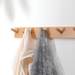 (买一送一)实木挂钩免打孔玄关入户门后墙壁壁挂免钉衣服挂衣钩