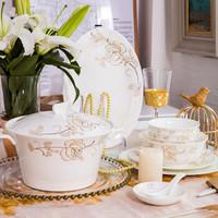 洛威 餐具套装骨瓷碗碟清新花卉陶瓷碗碟套装 56头塞纳河畔 *3件