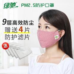 绿驰口罩 男女士防尘活性炭过滤PM2.5颗粒物 耳戴折叠式全棉保暖可清洗口罩精装 *12件
