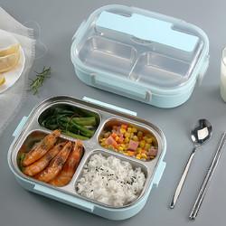美厨加大加深配餐具3/4/5格304不锈钢学生保温便当盒餐盒饭盒