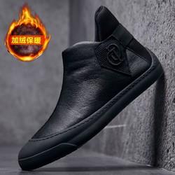 加绒休闲皮鞋短筒靴子男士休闲鞋懒人套脚棉鞋男短靴