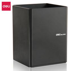 得力(deli)金属钢制桌面笔筒 商务办公收纳盒 黑色 *10件