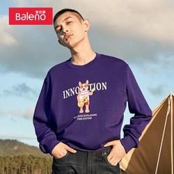 班尼路(Baleno)卫衣印花圆领卫衣男宽松情侣款套头衫