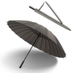 抗暴风雨24骨长柄大雨伞 超大双人防风加固商务直杆伞男女晴雨伞 灰色