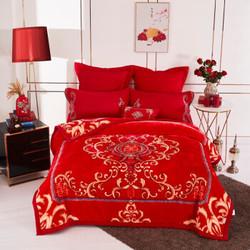 辰枫家纺 新款婚庆毛毯加厚保暖毯子7斤双人礼品毯家纺床上用品 200*230cm 7斤