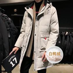 冬季新款羽绒服男刺绣连帽中长款宽松百搭男士羽绒服