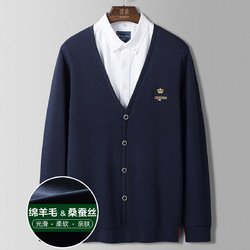罗蒙新品首发绣花针织衫男士长袖t恤男针织开衫
