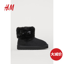 HM 童鞋女童儿童靴子2020秋冬新款保暖柔软仿毛衬里靴子 0809684