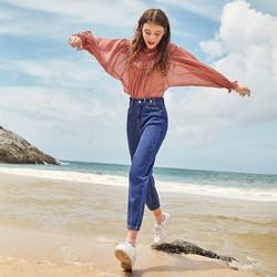 牛仔裤女高腰2020秋季新款个性扣袢设计九分铅笔裤女士牛仔裤