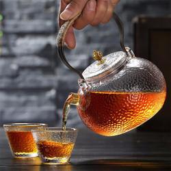日式锤纹耐热玻璃提梁壶 700ml+玻璃水杯2个