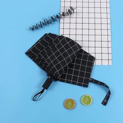 沃悠 方格子遮阳伞男女折叠晴雨伞太阳伞 两用黑胶防晒伞手动三折伞 黑色方格