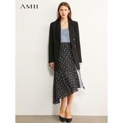 Amii极简法式撞色收腰碎花半身裙2020夏新款不规则显瘦A字裙子女