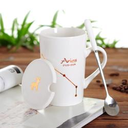十二星座陶瓷杯马克杯420ml骨瓷水杯带盖勺情侣咖啡杯茶杯