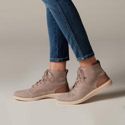 clarks其乐女鞋复古系带平底短靴踝靴女时尚马丁靴女