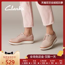 clarks其乐女鞋休闲增高厚底松糕鞋系带圆头淑女单鞋