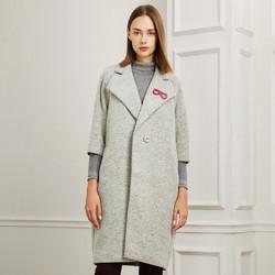 娜尔思冬女装大翻领一粒扣七分袖毛呢大衣外套