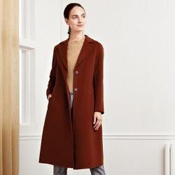 娜尔思冬女装时尚咖啡色修身长款大衣外套女毛呢大衣