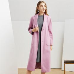 娜尔思·灵立体剪裁定版纯色翻领长款直筒大口袋羊毛呢子女式大衣
