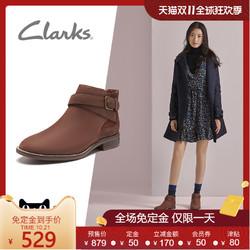clarks其乐女鞋圆头低跟搭扣踝靴子女舒适休闲短靴