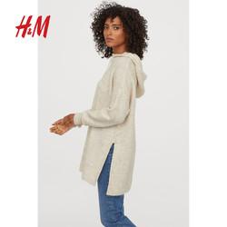 H&M FALL FASHION女装针织衫女长款套衫宽松连帽上衣女 0779889