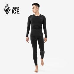 黑冰F1701 户外运动保暖内衣裤 冬季滑雪跑步抓绒排汗内衣套装 男 黑色内衣套装 XL