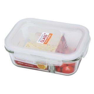 乐扣乐扣(LOCK&LOCK) 分隔耐热玻璃保鲜盒格拉斯微波炉便当盒饭盒 LLG428C(长方形二分隔)600ml *3件