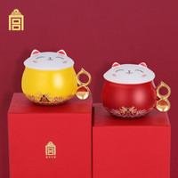 故宫文化  故宫猫杯陶瓷杯 咖啡杯茶杯牛奶杯办公室杯 送礼礼品 生日纪念日七夕情人节礼物 红色