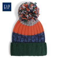 Gap男童可爱绒球针织帽子520024 拼色设计护耳帽子