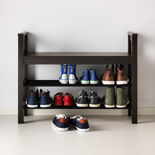 IKEA 宜家 HEMNES汉尼斯系列 IKEA00000671 实心松木多功能鞋柜 85*32cm 黑色