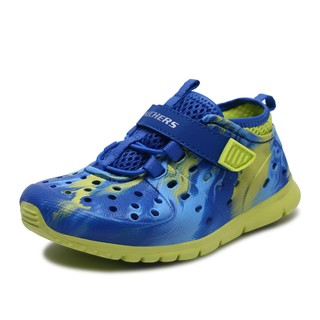 SKECHERS 斯凯奇 Liquidation系列 儿童凉鞋 92811N 蓝色/柠檬绿 25.5码