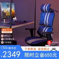 新电竞•人体工学椅 家用电脑椅办公椅职员椅老板椅电竞椅升降转椅网椅 蓝白