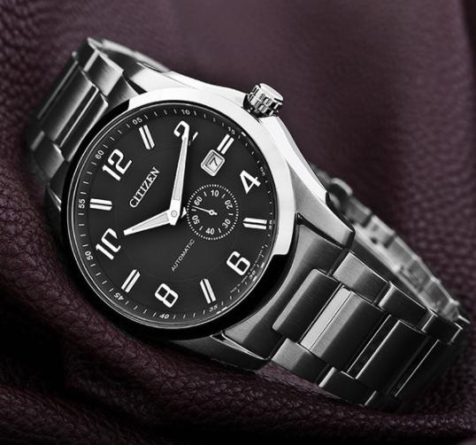 CITIZEN 西铁城 机械腕表系列 NJ0040-54E 42mm 男士机械手表 黑盘 银色精钢带 圆形