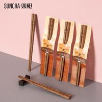 双枪(Suncha)筷子家用实木鸡翅木筷子无漆无蜡可爱儿童筷小孩家庭装宝宝筷3双装 KZ2100