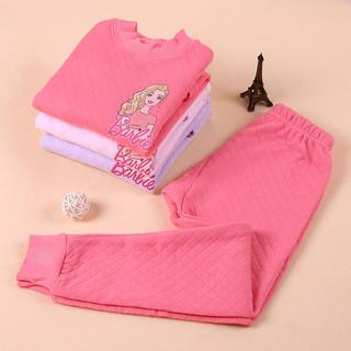 Barbie 芭比 女童加绒保暖内衣套装 78001 粉色 150cm