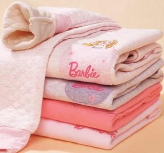 Barbie 芭比 女童夹棉保暖内衣套装 CB9805ZS 浅紫色 130cm