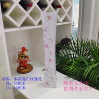 藤编花瓶铁艺仿陶瓷塑料木质装饰摆件 木质乳白玫瑰花花瓶
