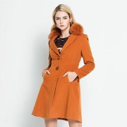 秋冬喜庆毛领百搭修身显瘦通勤纯色保暖外套羊毛呢大衣女