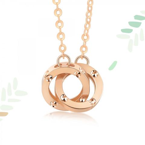 周生生 18K金薄荷系列 91979N 小圆珠双环项链