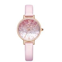 Disney 迪士尼 MK-11350RG 30mm 女士石英手表 粉盘 粉色皮革带 圆形
