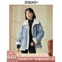 自巧小个子炸街外套女设计感小众2020冬季新款韩版加厚牛仔外套潮 牛仔蓝 M