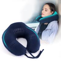 绿之源  U型枕头枕竹炭记忆棉飞机车用旅行颈椎枕脖枕午睡颈部靠枕 *4件
